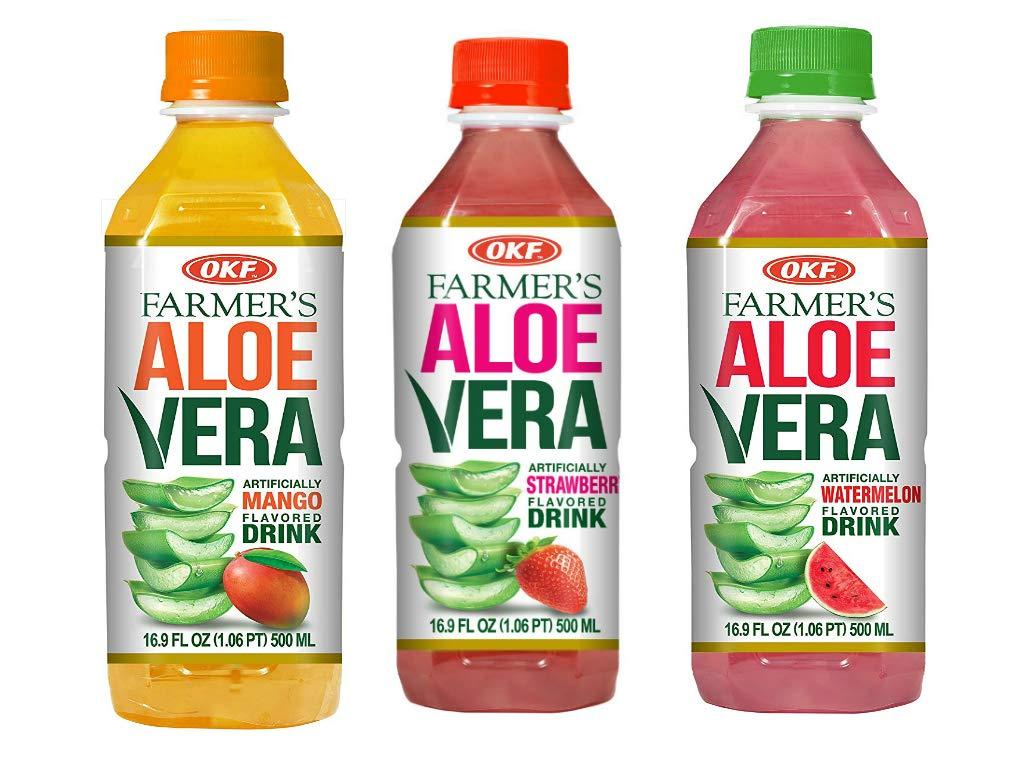 OKF Farmer's Aloe Vera Drink, Mango, Strawberry and Watermelon, 16.9 Fluid Ounce (Pack of 20 each)