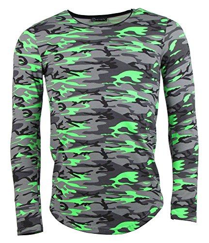 Longsleeve - Camouflage Style - in Neonfarben - grün