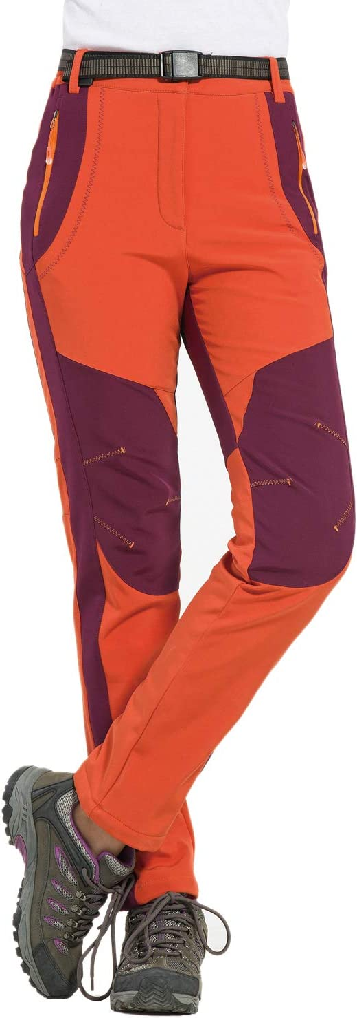 HAINE Womens Waterproof Trousers Windproof Soft Shell Fleece Lined Outdoor Climbing Pants with Belt