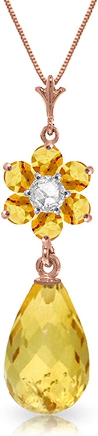 ALARRI 2.78 CTW 14K Solid Rose Gold Necklace Natural Citrine Diamond with 18 Inch Chain Length