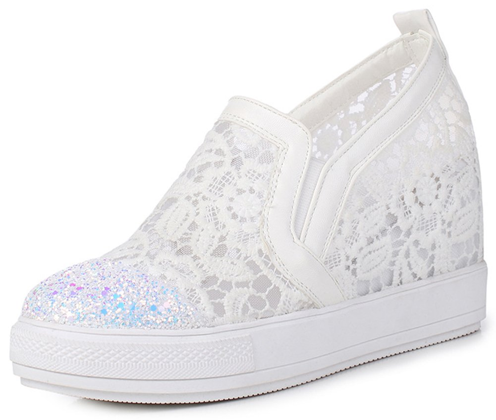IDIFU Women's Trendy Glitter High Wedged Heels Inside Round Toe Pull On Sneakers (White, 8.5 B(M) US)