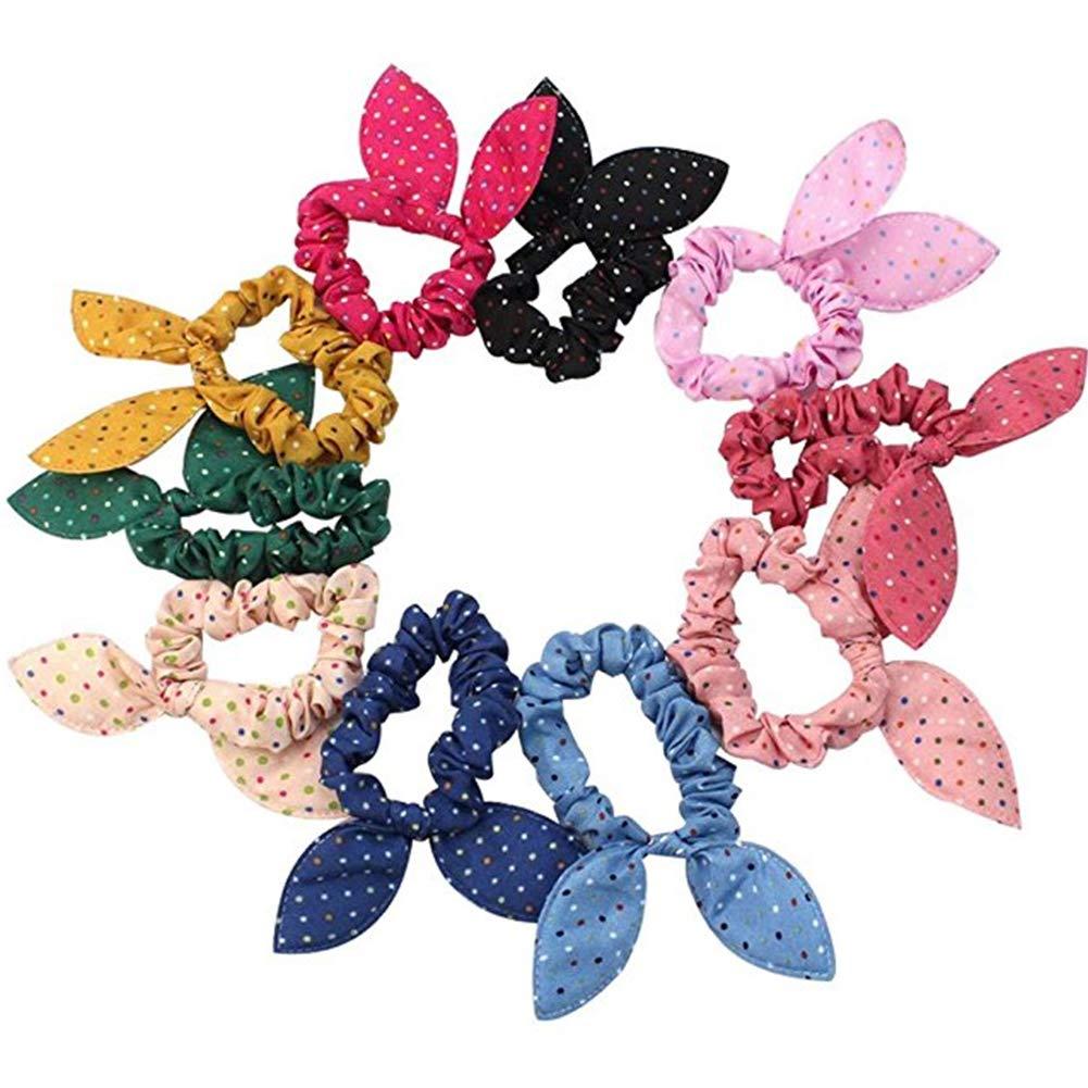 Lovely Baby Girl's Rabbit Ear Hair Tie Bands Ropes Polka Dot Ponytail Hair Bands 10Pcs Ebeauty