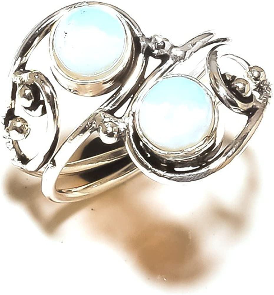White Opalite Handmade Jewellry 925 Sterling Silver Plated 4 Grams Ring Size 8 US Sizable Ethnic Wear