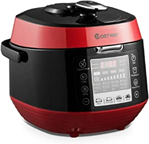 HomyDelight Food Cooker & Steamer, 12-in-1 Multi-use grammable Electric Pressure Cooker Non-Stick Pot-Red