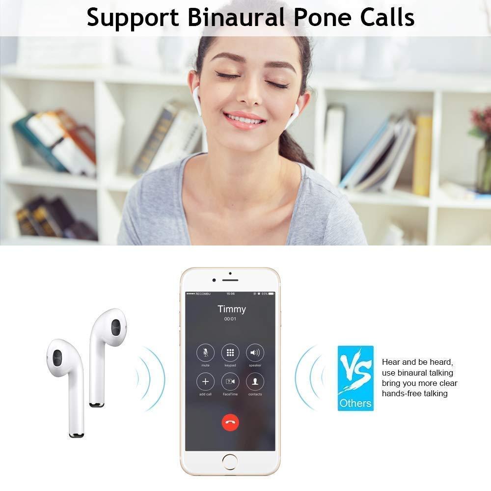 I8X Auriculares Bluetooth, Auriculares Inalámbricos Bluetooth, Con HD Micrófono y Caja de Carga, Auriculares Intrauditivos para iPhone Samsung y otros ...