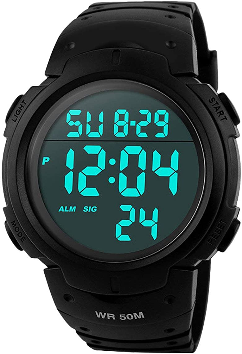 Reloj digital deportivo para hombre, en color negro