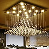 Moooni Modern Square Crystal Chandelier Lighting Raindrop Ceiling Light Fixture W27.6″ x H19.7″ Review