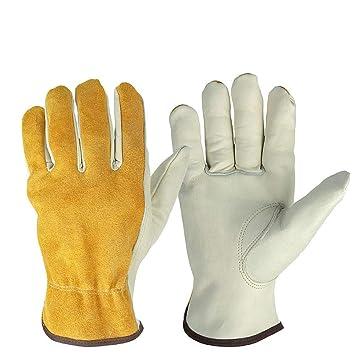 Amarillo con blanco 25 cm de largo multifunción Soldadura Guantes de soldadura para MIG TIG ARC ...