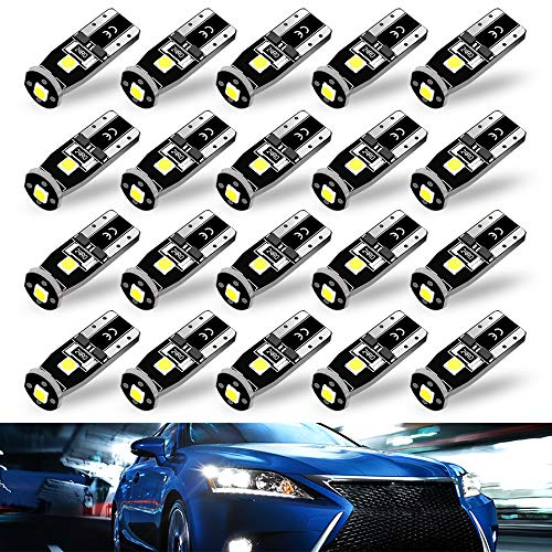Super Bright 3030 Chipset LED Bulbs for Car Interior Dome Map Door Courtesy License Plate Lights Compact Wedge T10 194 168 175 2825 Xenon White 20 - Light Wedge Set