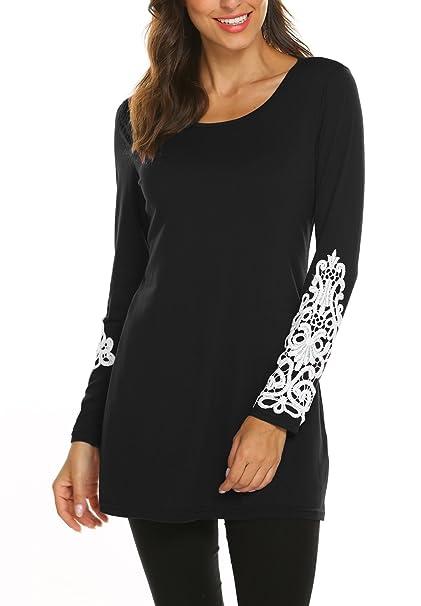 cbf2ce5c BLUETIME Long Tshirts for Leggings Women Fall Lace Flare Swing Tunic  Sweater Tops (M, Black) at Amazon Women's Clothing store: