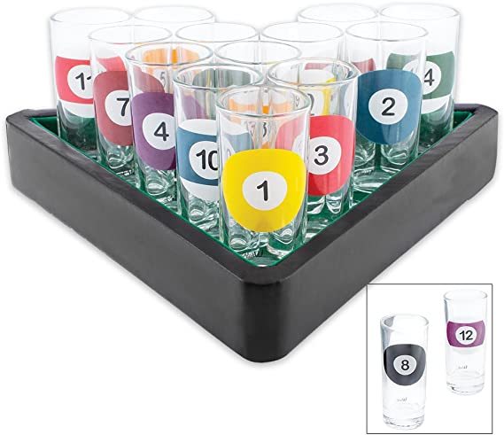 Novedad vasos de chupito diseño de 16 piezas de billar Bar Set con bandeja para servir: Amazon.es: Hogar