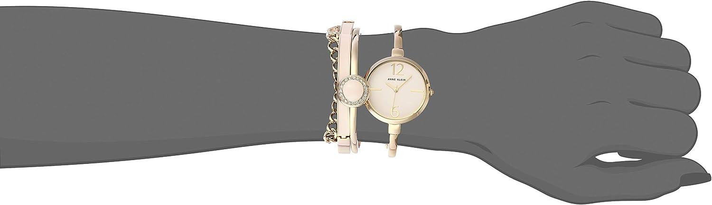 Anne Klein Women's Bangle Watch and Swarovski Crystal Accented Bracelet Set Gold/Pink