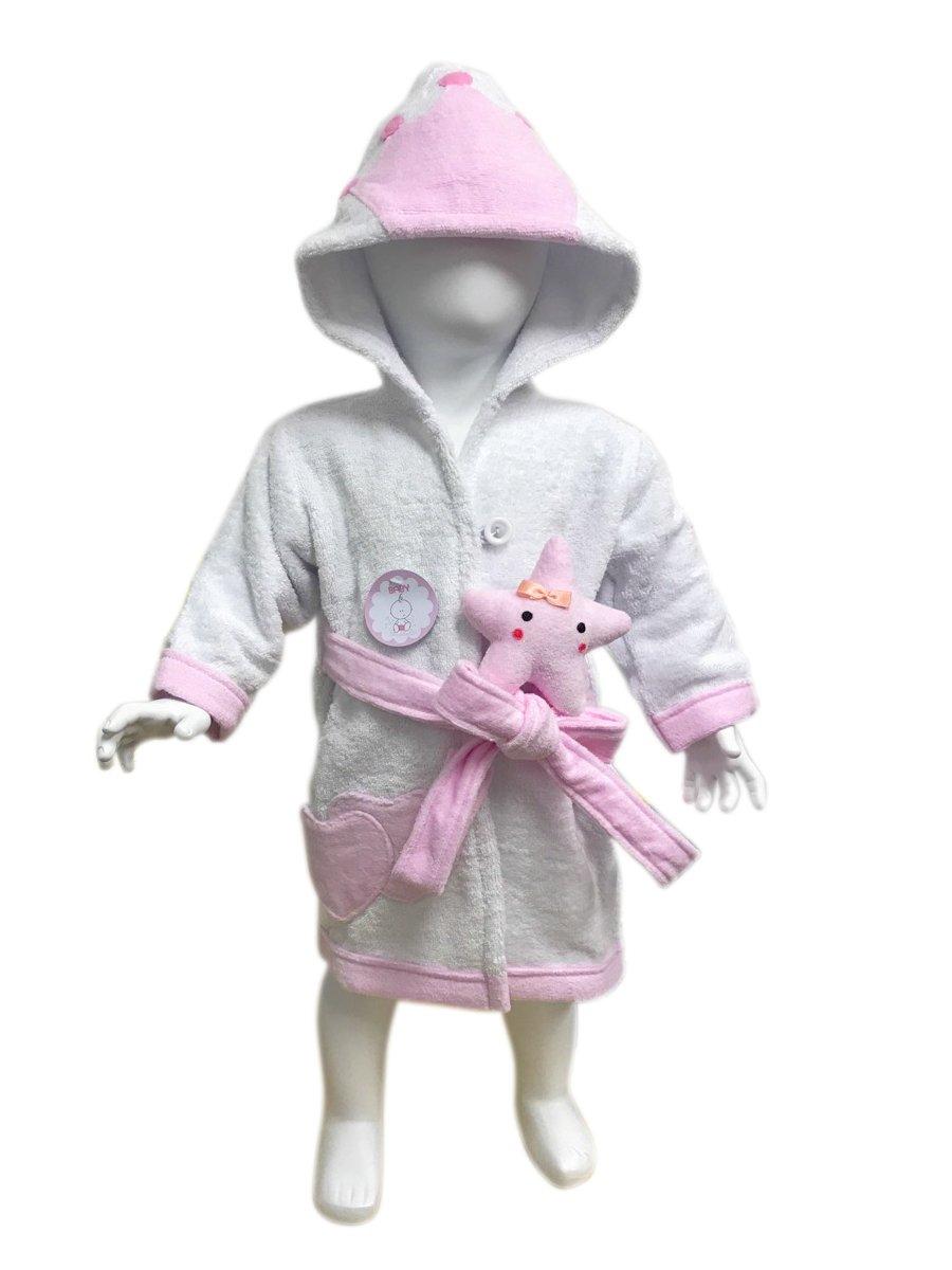 MINERVA Baby&Kids Princess Bathrobe &Star Plush Toy Gift Set For 0~6 Years Old 100%Virgin Cotton (S)