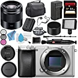 Sony Alpha a6300 Mirrorless Digital Camera (Silver) ILCE-6300/S + Sony E 50mm f/1.8 OSS Lens (Black) SEL50F18/B + NP-FW50 Replacement Lithium Ion Battery + External Rapid Charger Bundle