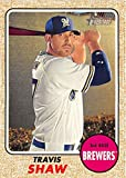 #9: 2017 Topps Heritage #118 Travis Shaw Milwaukee Brewers Baseball Card