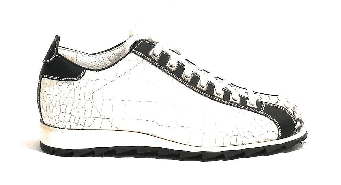 Harris Zapatillas de Piel Para Hombre Cocco Bianco/Pitone Roccia/Nero 5UK-39IT