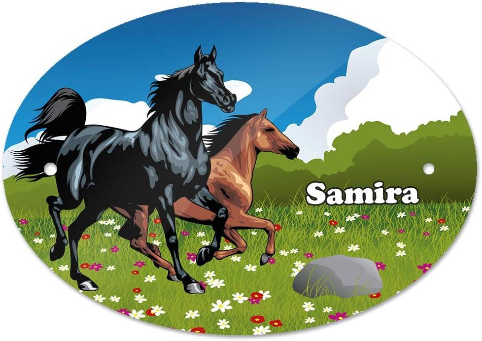 Kinderzimmer-Schild Eurofoto T/ürschild mit Namen Samira und Pferde-Motiv f/ür M/ädchen
