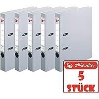 Herlitz 5450309 ordner maX.file protect A4, 5 cm met insteeklabel Grau | 5 Stück