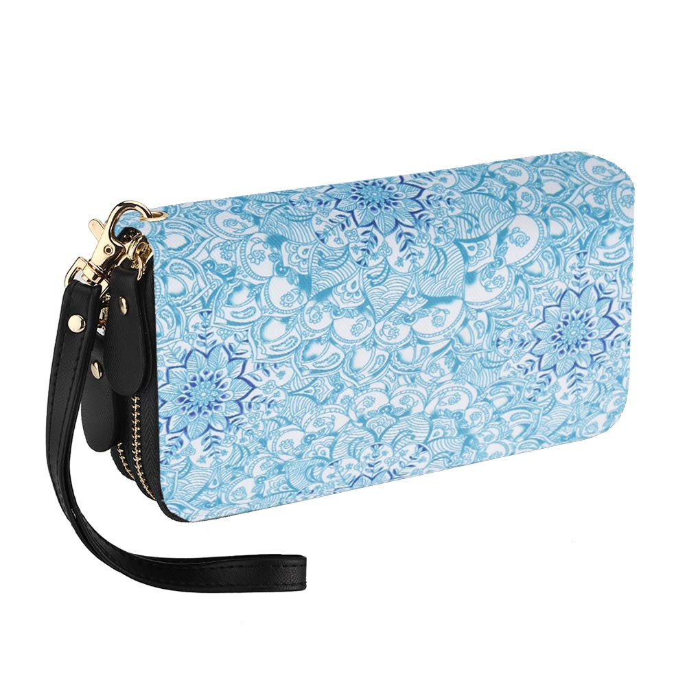 Bohemian Purse Wallet Canvas Elephant Pattern Handbag with Coin Pocket and Strap (Blue-Flower, Large)