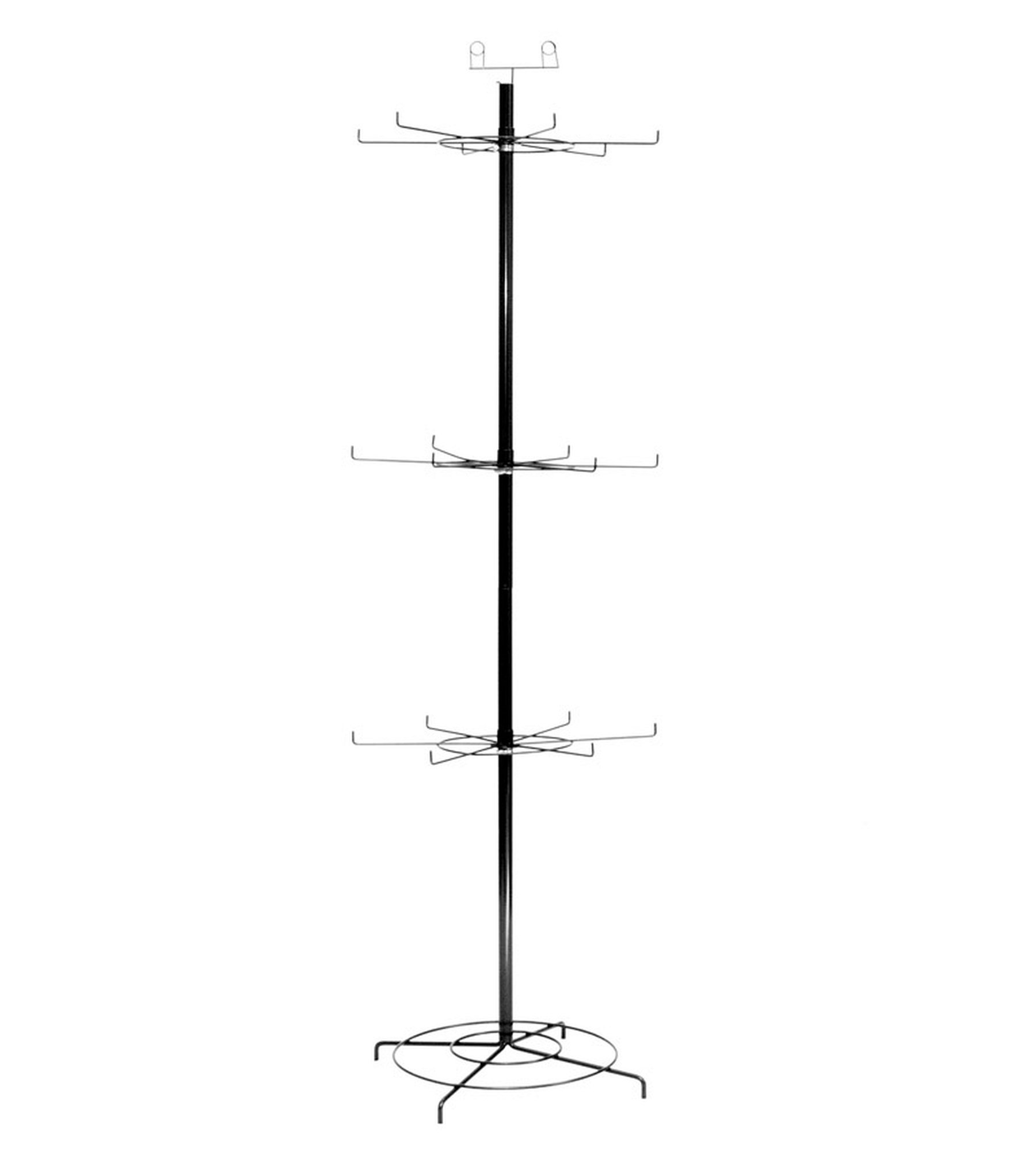 Vulcan Industries, 1009672-3TRSPN, Economy Wire Spinner Display, 3 Adjustable Height Tiers, 18 Hooks, 67'' Tall, Sign Holder top