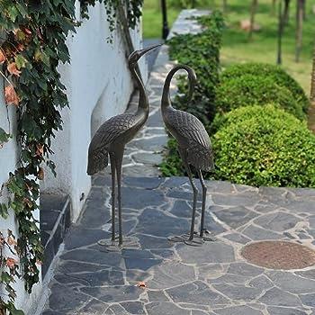 Sunjoy 2 Piece Male U0026 Female Garden Cranes Bronze Finish Statue Set