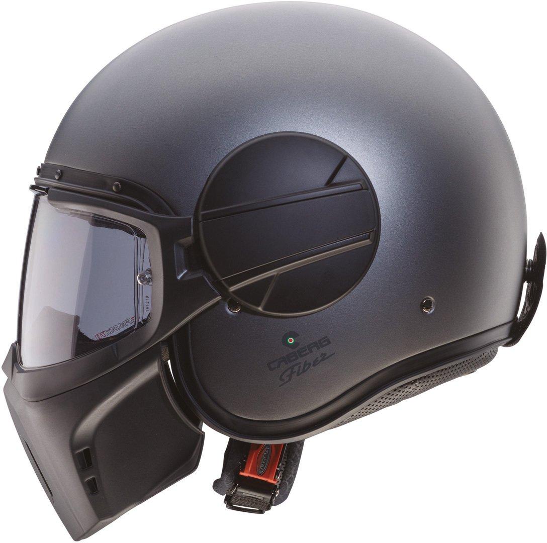 Caberg Ghost Fluo fibra de vidrio de casco jet Mate Negro