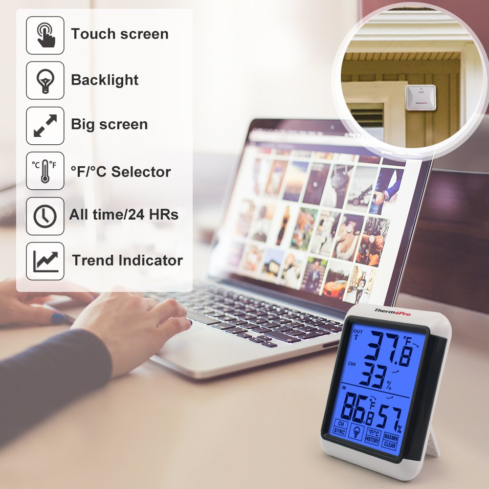 ThermoPro TP65 Digital Wireless Hygrometer Indoor Outdoor Thermometer Wireless Temperature and Humidity Monitor with Jumbo Touchscreen and Backlight Humidity Gauge by ThermoPro (Image #4)