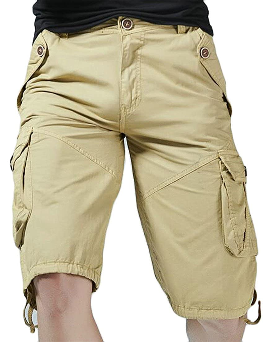 2b0cec74249 Lutratocro Mens Multi-Pocket Straight Leg Plus Size Knee Length Cargo Shorts