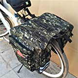 Yunhigh Camo Bike Bag Saddle Pannier Rear Rack Bicycle Trunk Bags Back Seat Carrier Bag Commuter Bag Durable Waterproof & Large Capacity for Travel Outdoor Camping (35L)