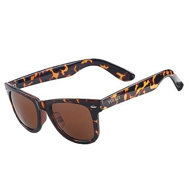 9e4493abe15b5 YOLEZI Polarized Retro 80s Sunglasses for Men Women with UV Protection ( Leopard   Brown