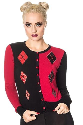 Cárdigan Top Harlequin de Banned en Negro y Rojo de Estilo Retro Vintage para Cosplay de Harley Quinn Juno