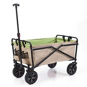 Seina Heavy Duty Compact Folding 150 Pound Capacity Outdoor Utility Cart, Tan