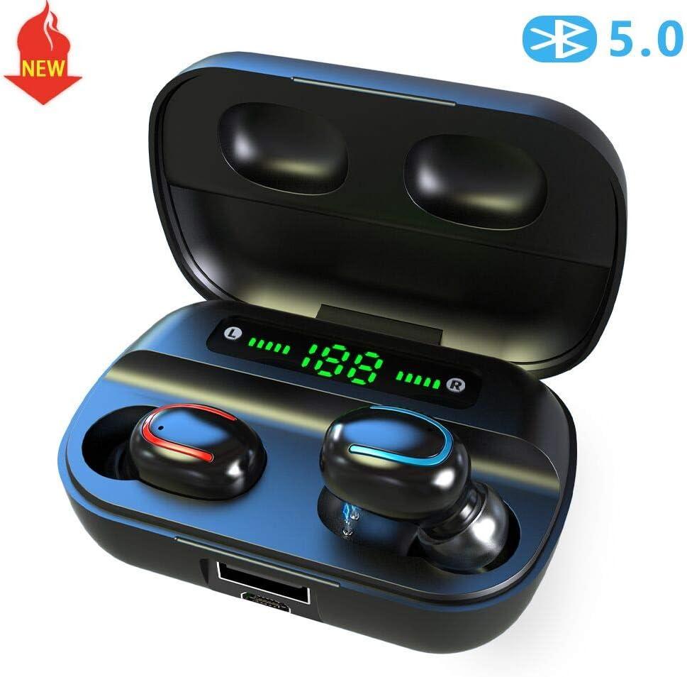 Auricolari Bluetooth 5.0 TWS Wireless 3D Stereo 24h Playtime HD Cuffie Senza Fili con Microfono, Binaurale Call Auto Pairing in-Ear Cuffie Sport, con custodia di ricarica portatile, per iOS Android