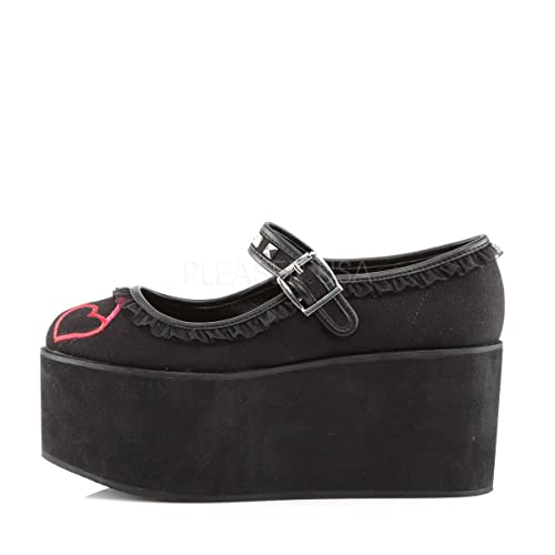 8d80126e907df Demonia CLICK-02-1 Black Hearts Embroidery Platform Buckle Mary Jane Shoes   Amazon.co.uk  Shoes   Bags