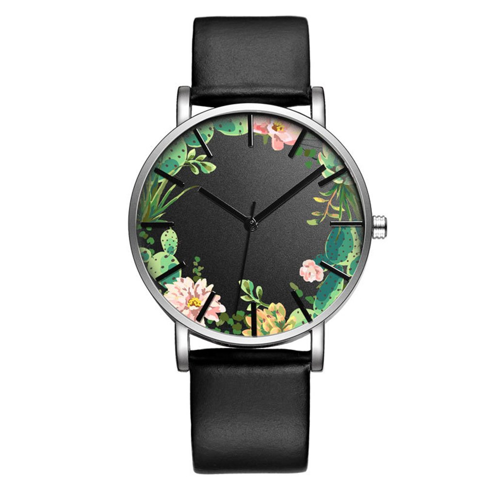 Fashion Luxury Butterfly Cactus Flowers Floral Print Leather Strap Men Women Girl Wristwatch, Green