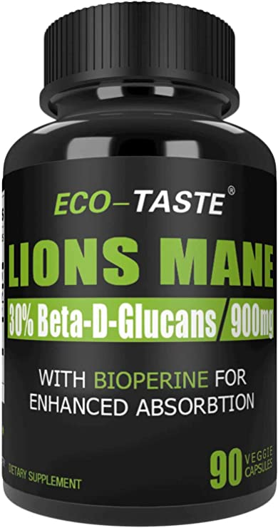 Organic Lions Mane Mushroom Capsules – 900 mg Pure Extract Powder with Absorption Enhancer – Nootropic Brain Supplement, Immune System Booster – 90 Veggie Capsules