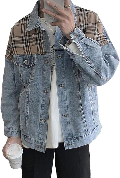 Aisaidunメンズ ジャケット ジャンパー ブルゾン ラベル 長袖 メンズ ジャケット デニム コート 秋 韓国風コート ファッション アウター かっこいい クラシック 通勤 通学 トップス お出かけ