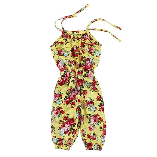 eb697aacd Froomer Baby Girls Floral Romper Jumpsuits Playsuit Overall Spaghetti  Straps Top (Size 120/3