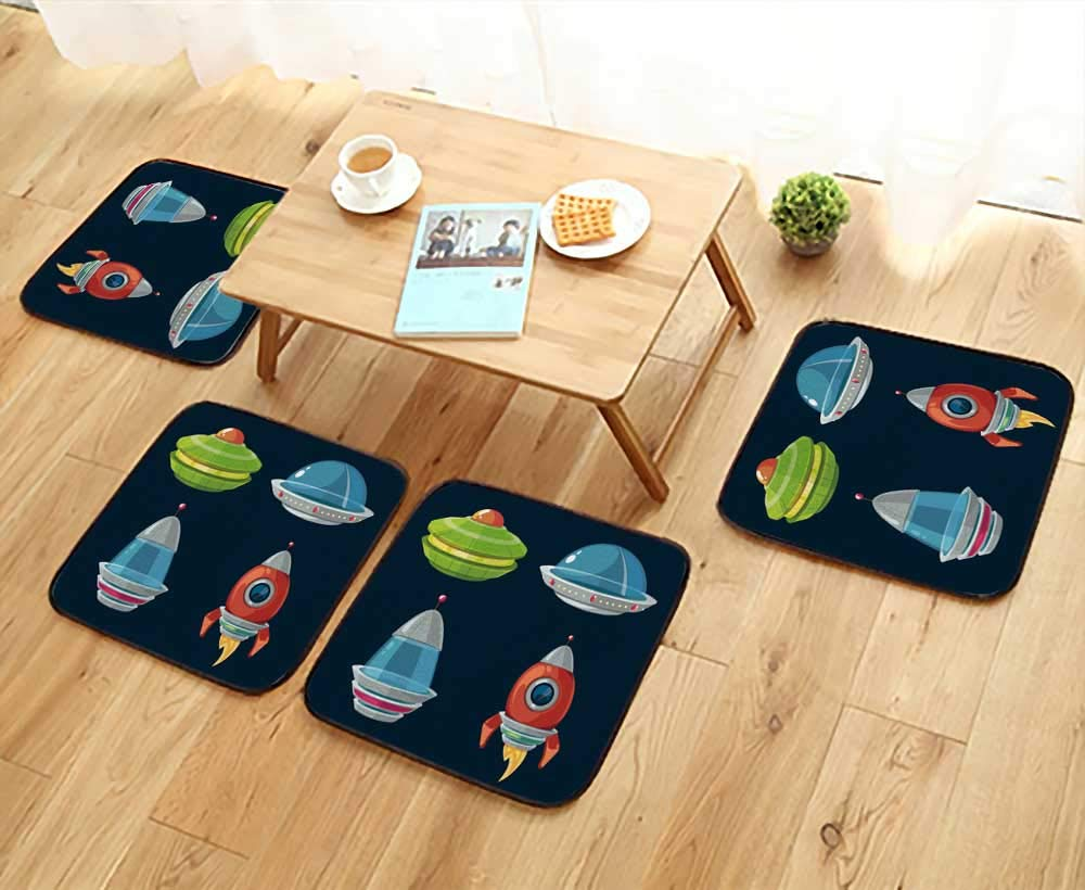 UHOO2018 Chair Cushions Spaceship and spacecrafts Cartoon Set for Space Computer and Phone Game Non Slip Comfortable W25.5 x L25.5/4PCS Set