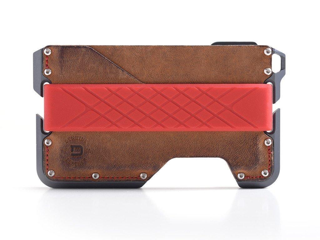 Dango D01 Dapper EDC Wallet - Made in USA - Genuine Leather, CNC Alum, RFID Blocking (Brown Rawhide/Slate Grey)
