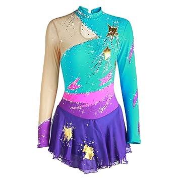 Vestido de Competición de Patinaje Artístico Costura de Personalidad Hecho a Mano Disfraz de baile de