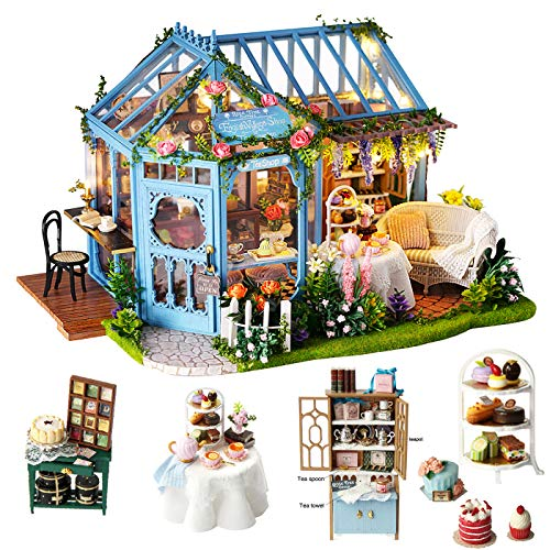 Spilay Dollhouse Miniature with Furniture,DIY Dollhouse Kit Plus LED Light & Music Box,1:24 Scale Creative Room Toys for Children Girl Birthday Gift for Lover and Friends(Rose Garden Tea House) (Rose House Tea)