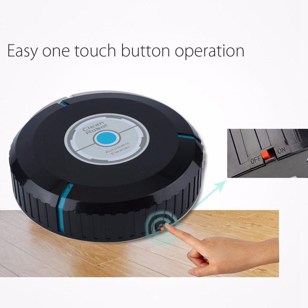 SODIAL Robot limpiador auto de casa Fregona robotica inteligente de microfibra Barrendero limpiador de polvo de esquinas del piso Aspirador: Negro: ...