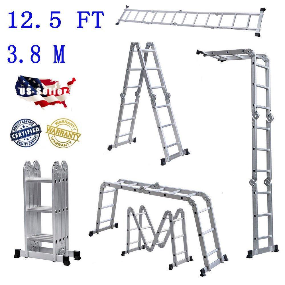 Folding Ladder 12.5FT Multi Purpose Aluminum Folding Step Ladder Scaffold Extendable Heavy Duty