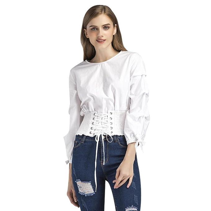 FTVOGUE Nuevo Blusas para Mujer Manga de Linterna Blanca Cuello Redondo Correa de Vendaje Lumbar Camisa