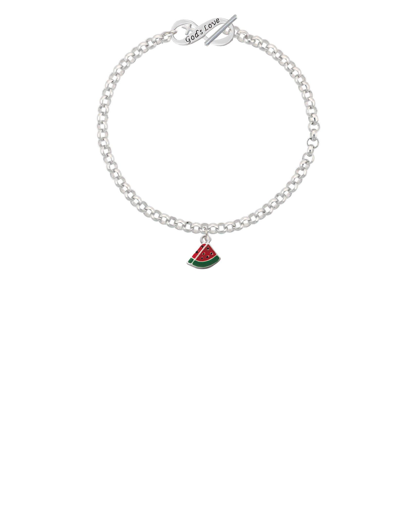 Silvertone Mini Enamel Watermelon Slice God's Love Infinity Toggle Chain Bracelet, 8''