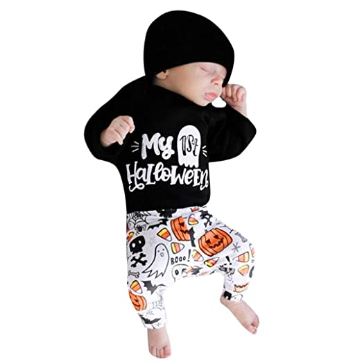 Outfits Sets Infant Baby Girls Boys Letter Romper Pants Halloween Costume  with Hat (Black c7730f5fe3