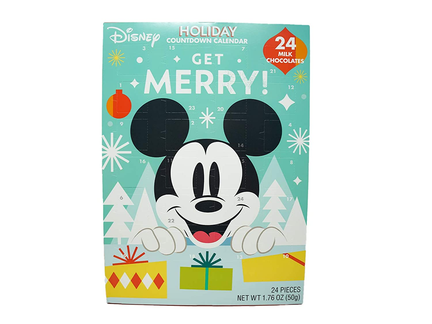 Disney Mickey Mouse and Friends Christmas Advent Countdown Calendar with 24 Milk Chocolate Pieces, 1.76 oz