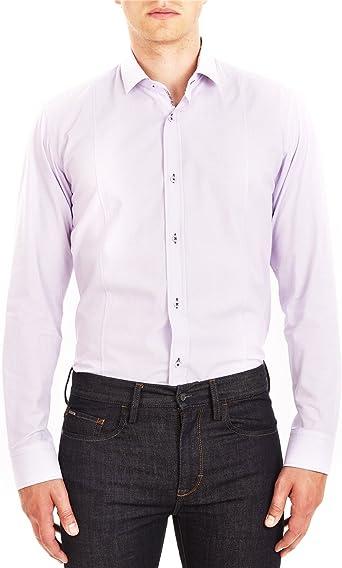 Guide London - Camisa de Vestir - Básico - para Hombre Morado Lila Medium: Amazon.es: Ropa y accesorios