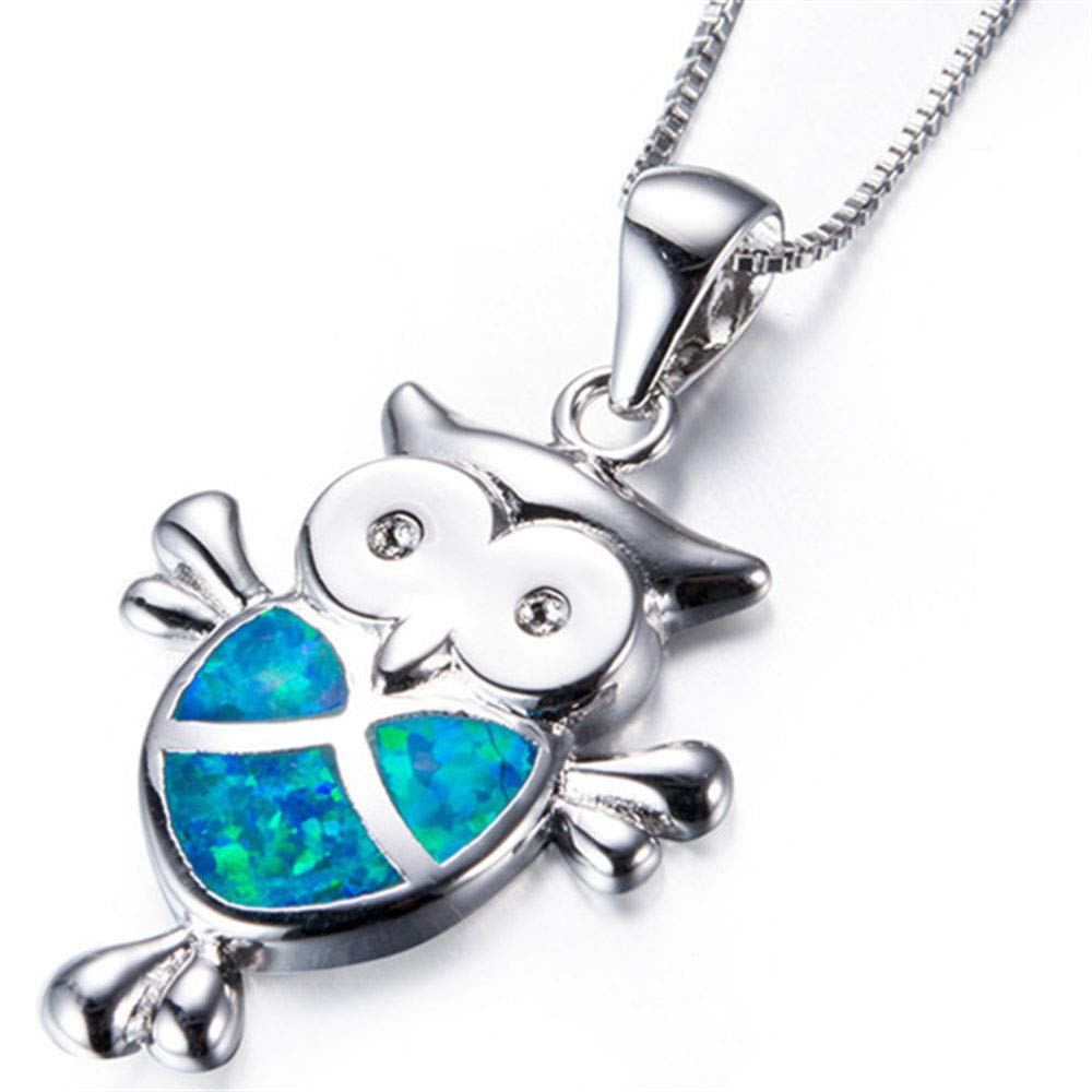 Mellme Mini Owl Necklaces for Women Silver High Polish Created Blue Opal Owl Pendant Charm Jewelry